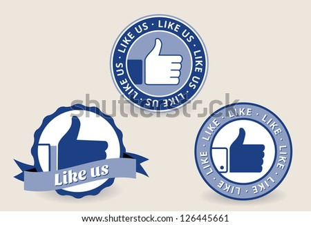 Collection of thumb up labels, badges and stickers - stock vector
