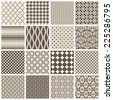 collection of 16 tiling patterns (saved to the patterns/color palette) - stock vector