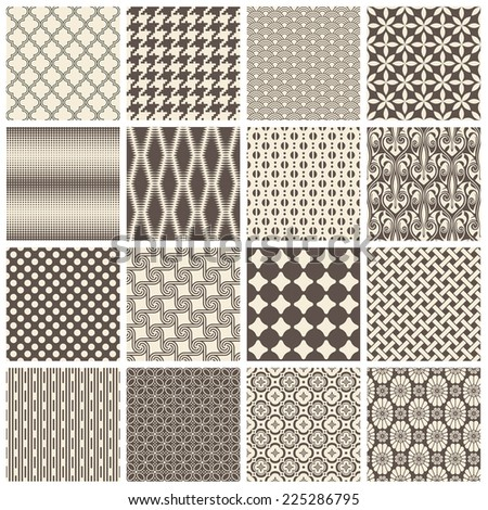 collection of 16 tiling patterns (saved to the patterns/color palette)