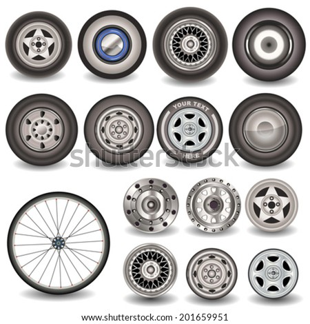 Collection of tires and wheels. - stock vector