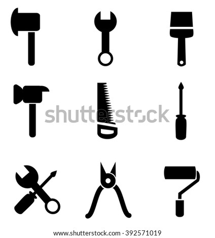 Collection of tool icons isolated on white background. Vector illustration.