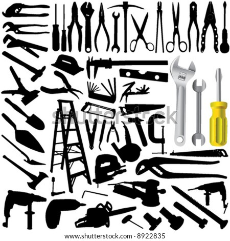 collection of tool vector 3 - stock vector
