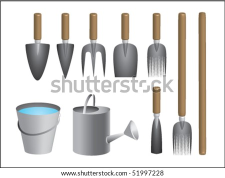 collection of tools for a use in a garden - stock vector