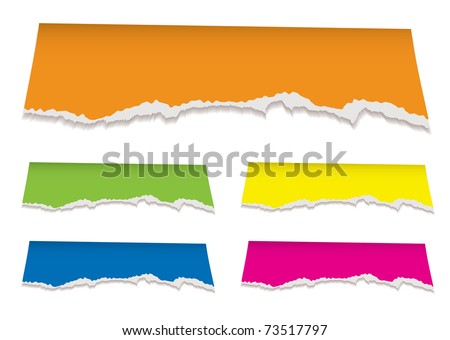 collection of torn paper elements with florescent colors - stock vector