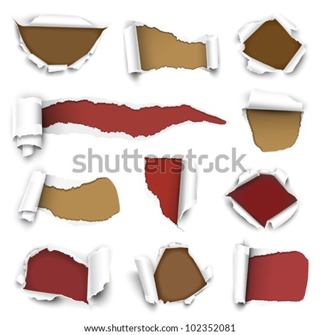 Collection of torn paper. Vector illustration - stock vector
