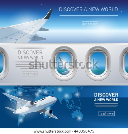 Collection of tourism themed banners with airplane, wing and porthole illustrations - stock vector