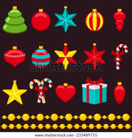 Collection of toys for Christmas tree - stock vector