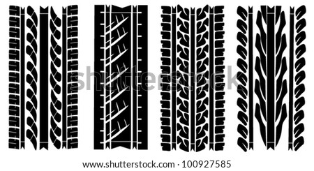 Collection of traces of protectors of tires - stock vector