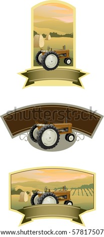 Collection of tractor labels with a farm scene. - stock vector