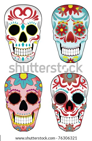 Collection of traditional mexican sugar skulls for the Day of the Dead or Dia de los Muertos - stock vector