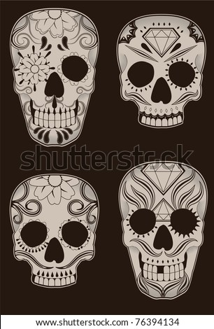 Collection of traditional mexican sugar skulls for the Day of the Dead or Dia de los Muertos. - stock vector