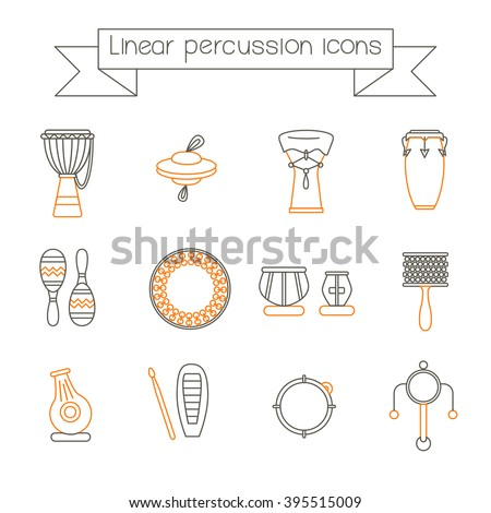Collection of traditional percussion instruments in black and orange colors. Linear icons set. - stock vector