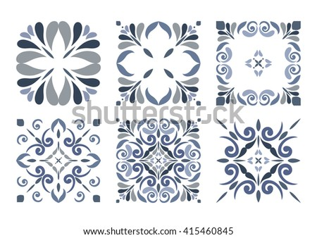 Collection of 6 Traditional seamless Tiles with Victorian motives in BLUE