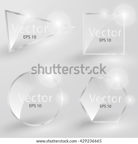 Collection of transparent glass banners. Glass square. Gloss, blank, empty round glass. Vector illustration icons set. - stock vector