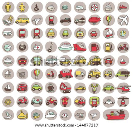 Collection of 80 transportation doodled icons (vignette) with shadows, on background, in colours. Individual illustrations are isolated and in eps10 vector mode. - stock vector