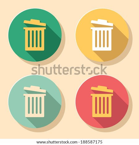Collection of trash bin icons in colorful retro colors - stock vector