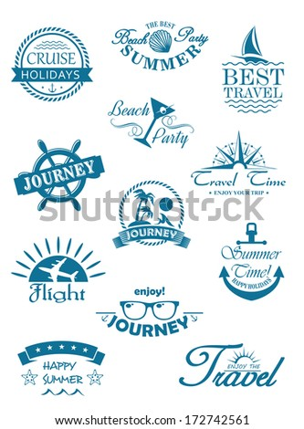 Collection of travel icons in blue depicting travel, journey, summer, beach party, flights and cruises for use in the tourist industry to promote that unforgettable tropical summer vacation - stock vector