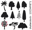 collection of trees silhouettes (collection of trees for design) - stock photo