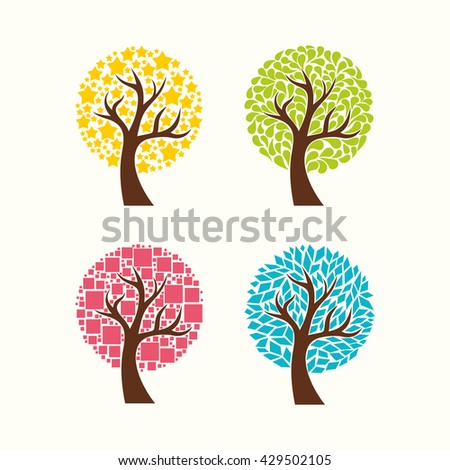 Collection Of Trees. Vector Illustration. - stock vector