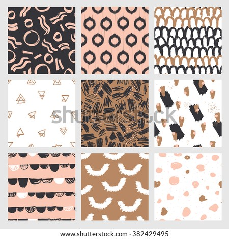 Collection of trendy and highly fashionable decorative seamless pattern designs. Surface patterns for all web and print purposes.