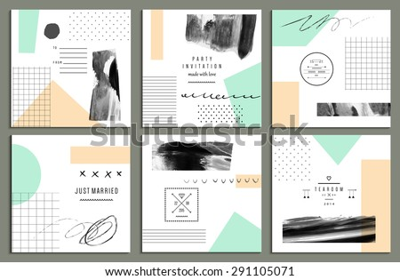 Collection of trendy cards with geometric shapes, hand made textures and logotypes. Wedding, marriage, bridal, birthday,  Valentine's day. Creative unusual posters. Isolated - stock vector