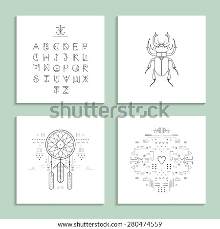 Collection of trendy cards with unusual geometric elements. Isolated. - stock vector