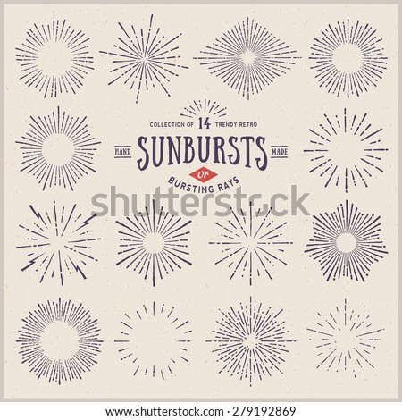 collection of trendy hand drawn retro sunburst/bursting rays design elements - stock vector