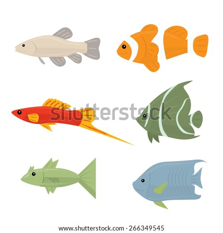 Collection of tropical fish - set of vector icons Isolated on white background - stock vector
