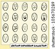 Collection of twenty funny hand drawn cartoon face expressions - stock photo