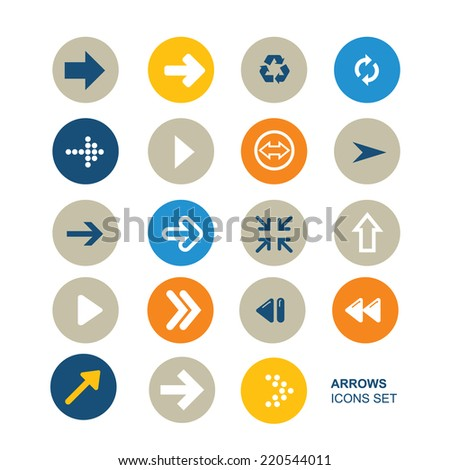 Collection of twenty simple icons. Icons of arrows. Simple circle shape internet button. Contemporary modern flat style. - stock vector