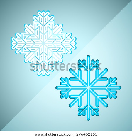 Collection of two abstract snowflakes for Christmas greeting cards, advertising and other creative designs. Editable vector with several layers. Eps 10 - stock vector