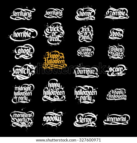 Collection Of Typographic Halloween Design / Retro Style Elements. isolated white elements on the black background. Vector Illustration, eps10, contains transparencies. - stock vector