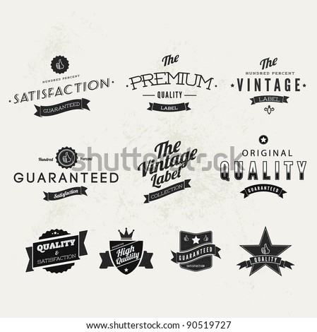 Collection of Typographic Premium Quality and Guarantee Labels with retro vintage styled design
