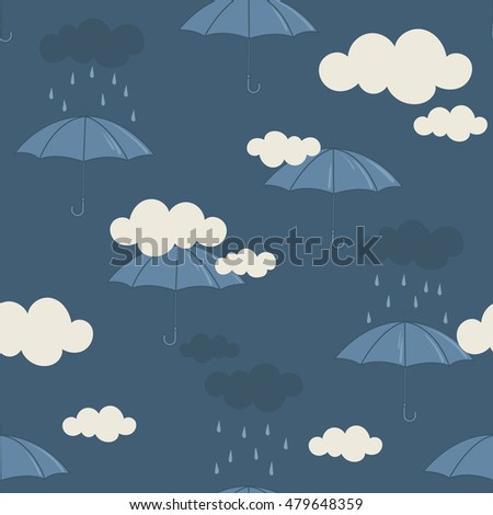 Collection of umbrellas, seamless pattern vector. Hand drawn icon set. Doodle background with sketch objects