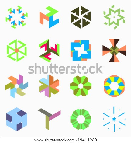 Collection of unic abstract kinematic symbols