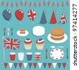 collection of united kingdom party items with balloons, cake and bunting - stock photo