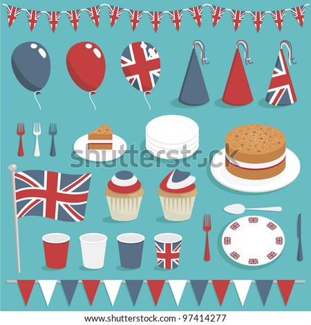 collection of united kingdom party items with balloons, cake and bunting - stock vector