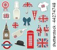 collection of united kingdom themed stickers with union jack - stock photo