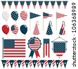 collection of united states of america decorations, isolated on white - stock photo