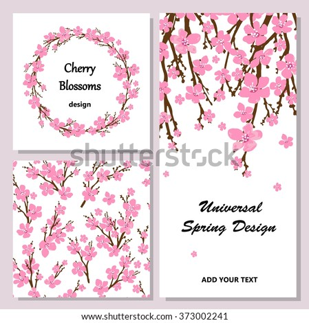 Collection of universal cards with cherry blossoms. Spring wreath with sakura branches. Seamless pattern. - stock vector
