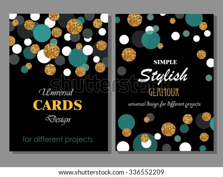 Collection of Universal Modern Stylish Cards Templates with Golden Geometrical Glitter Dots. Creative Wedding, Anniversary, Birthday, Valentines Day, Party Invitations, Business.  - stock vector