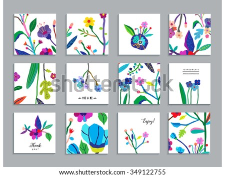 Collection of unusual cards with paper cut flowers. Beautiful freehand colorful illustration. Design for poster, card, invitation, placard, brochure, flyer. Isolated - stock vector