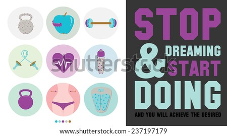 Collection of unusual motivational posters on the sport, healthy lifestyle and fitness for men and women. Vector design with fitness icons on white background. Typographic inspirational and quotes - stock vector