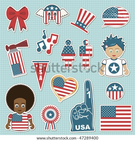 collection of usa supporter stickers with flags - stock vector