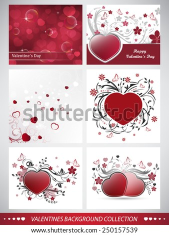 Collection of valentines day background with red heart and floral pattern/vector illustration