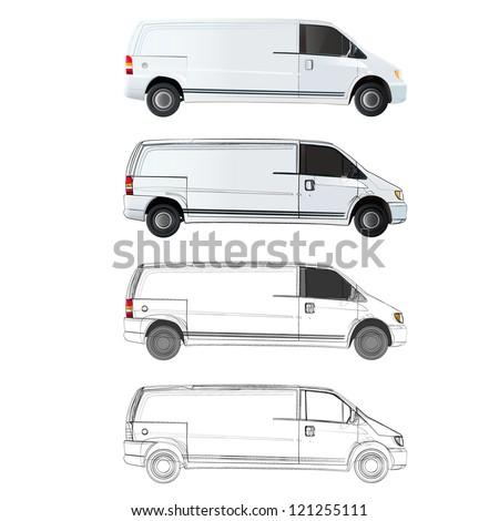 Collection of vans. Vector design. - stock vector