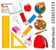 Collection of various back to school and student objects - stock vector