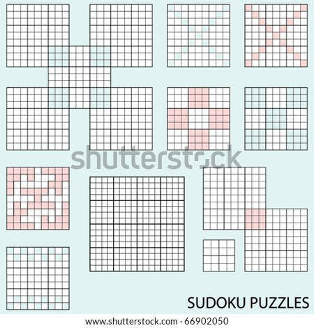Collection of various blank sudoku puzzle templates - stock vector