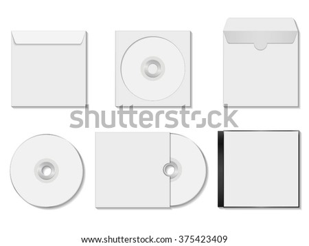 collection of various blank white dvd and envelope on white background.