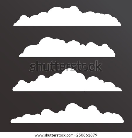 Collection of Various  clouds with a big long shape - stock vector